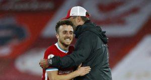 Diogo Jota giving a hard time to boss Jurgen Klopp
